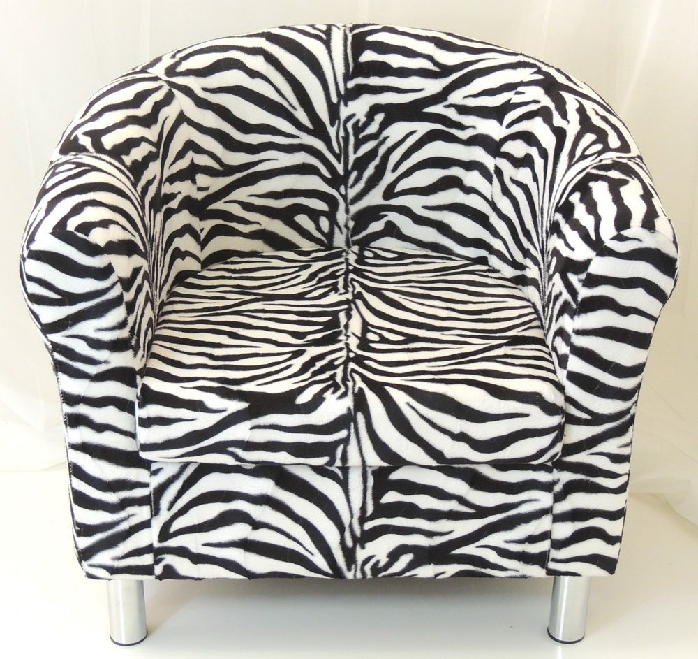 Details about animal print tub chair in zebra cow