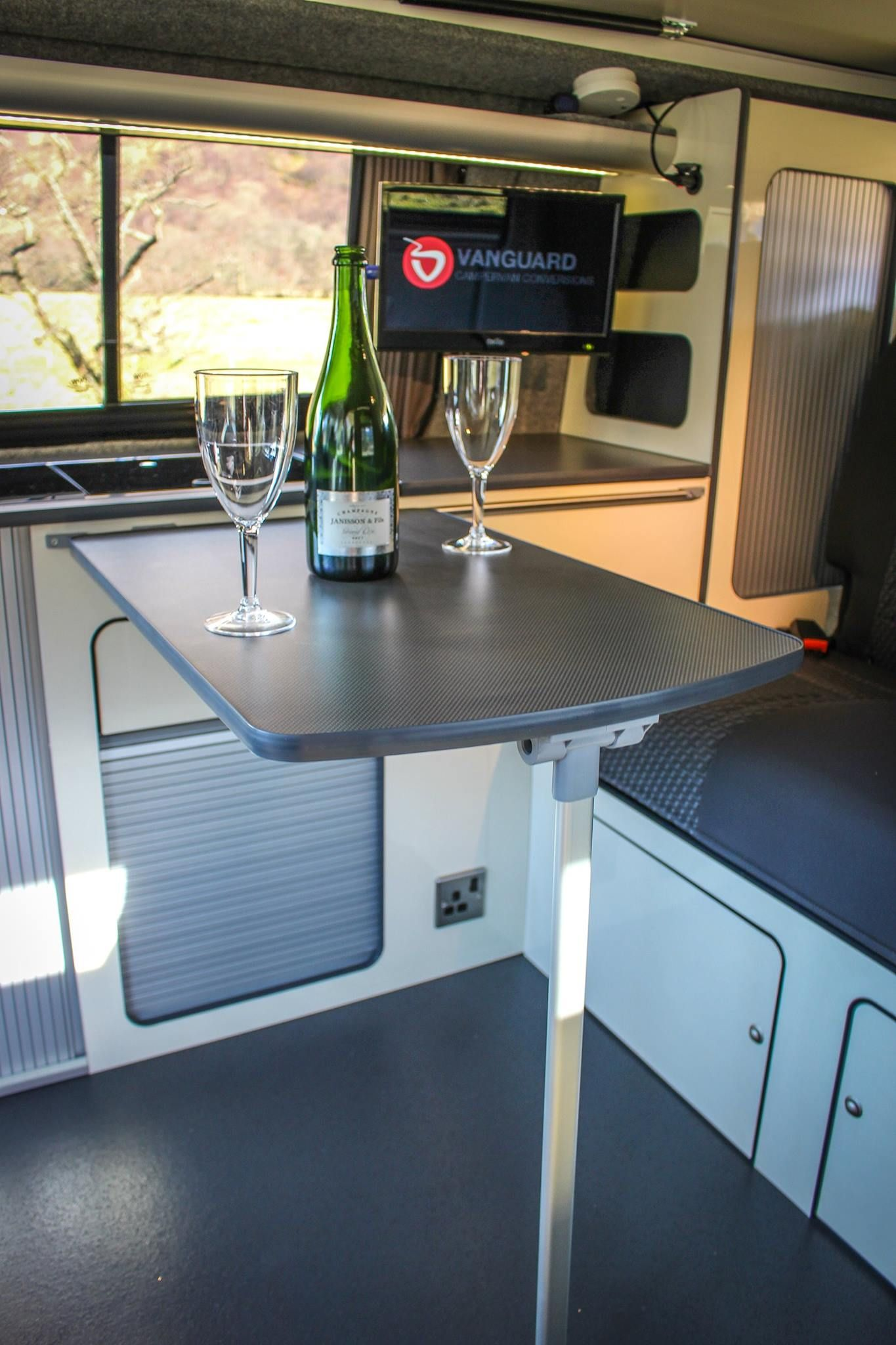 VW T5 Camper Conversion Stylish Cream Grey Furniture With Tampa
