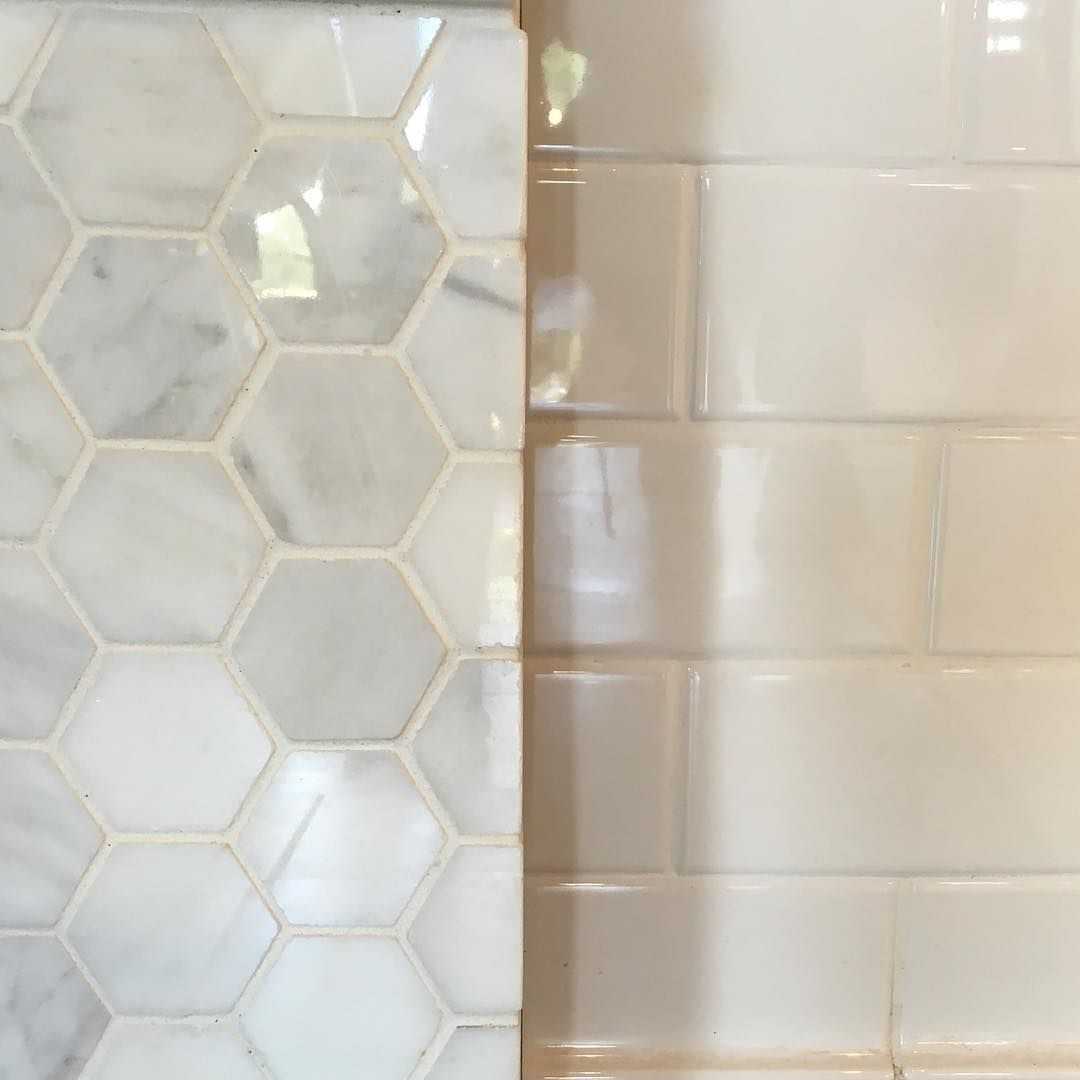 Bathroom renovation: Honeycomb for the floors & clean white subway ...