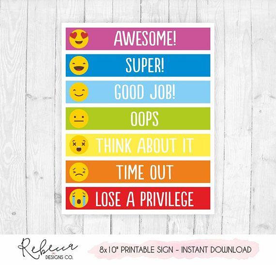 Behavior Chart Printable Behavior Chart Kids Behaviour Chart Emoji