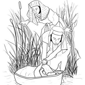 Baby Moses Was Safe In His Basket Boat Coloring Page Color Luna