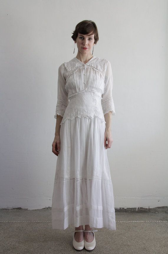 1900s Edwardian Gown . Antique Dress . Cotton . Vintage Bridal ...