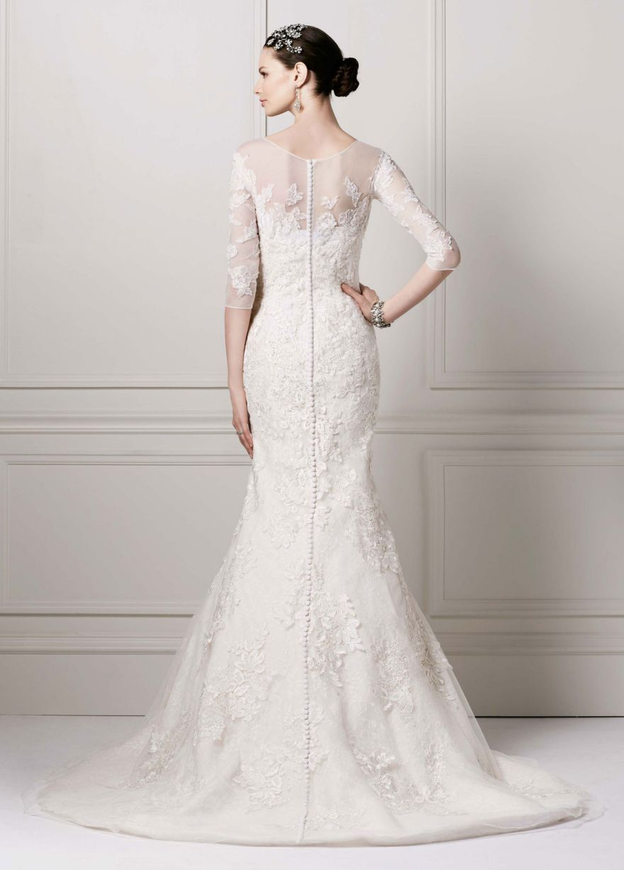 3/4 Sleeve Lace Trumpet Gown David's Bridal Trumpet
