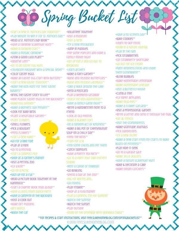 Spring Bucket List for Kids - Free Family Fun Printable   Spring ...