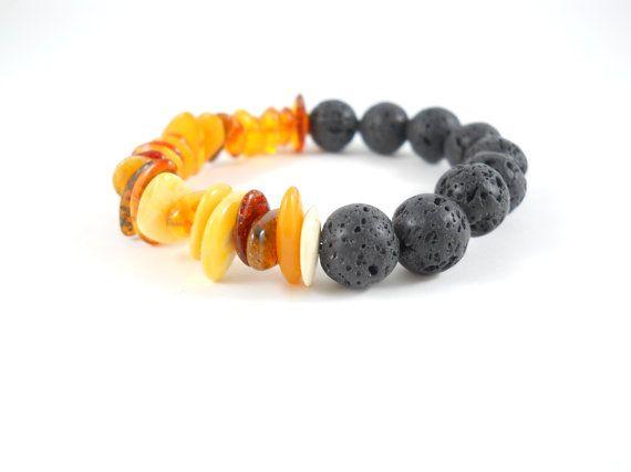 Stacking Bracelet Baltic Amber & Lava Stone by Freesize,