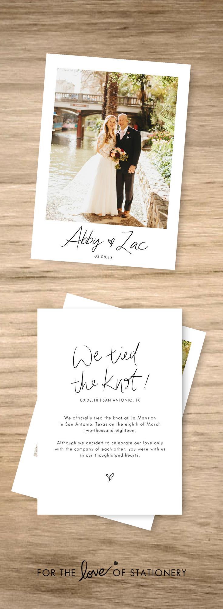 We Eloped Elope Invitation Elopement Announcement Rustic Weddings Wedding Ideas
