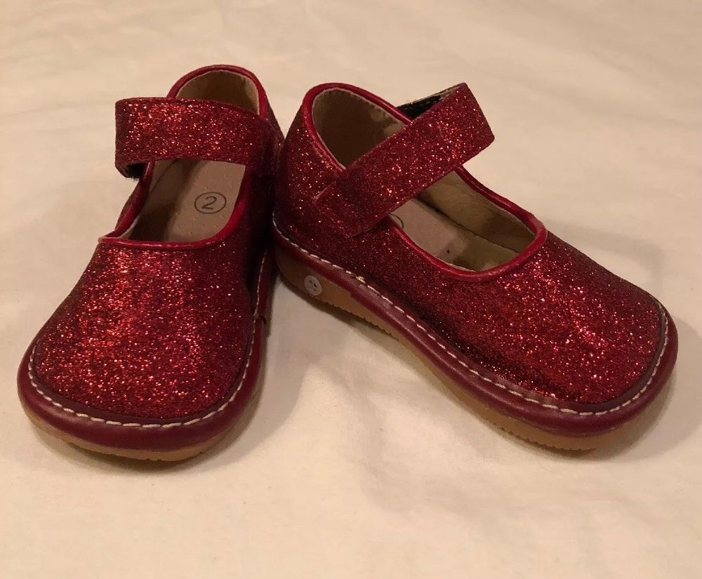 Baby Girl Red Sparkly Glitter Squeaky Shoes Size 2 Fashion