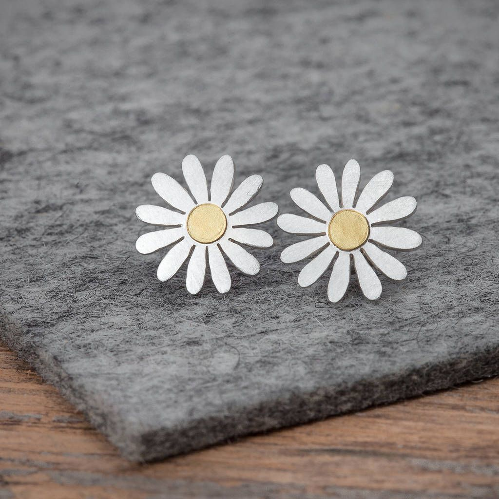Aster Flower Earrings In Silver And 18ct Gold Flower Earrings Studs Flower Earrings Aster Flower