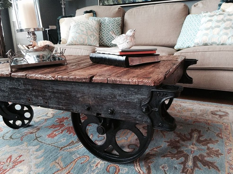 Factory Cart Coffee Table Decorating