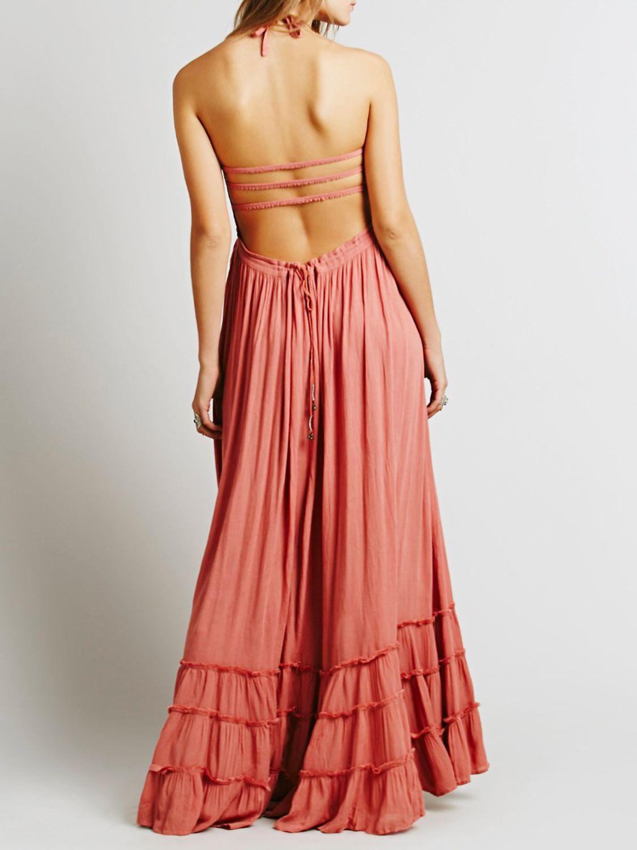 Tomato halter lattice detail backless ruffle maxi dress clothes