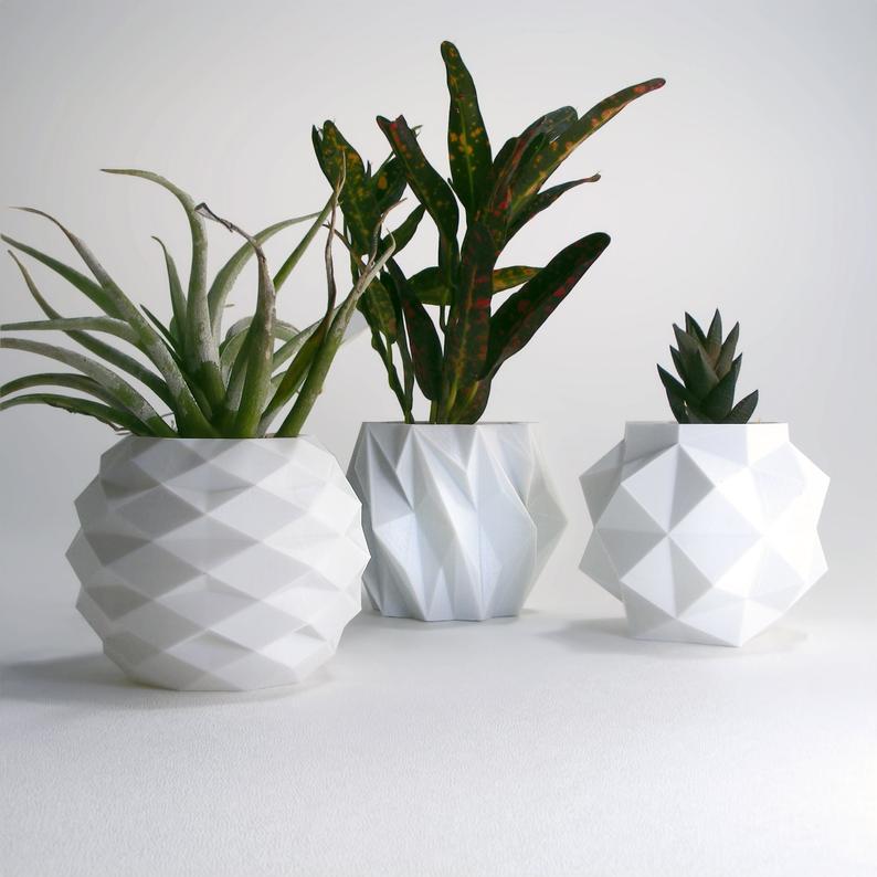 Small Geometric Planter Set White Pots White Desk Planter Pot