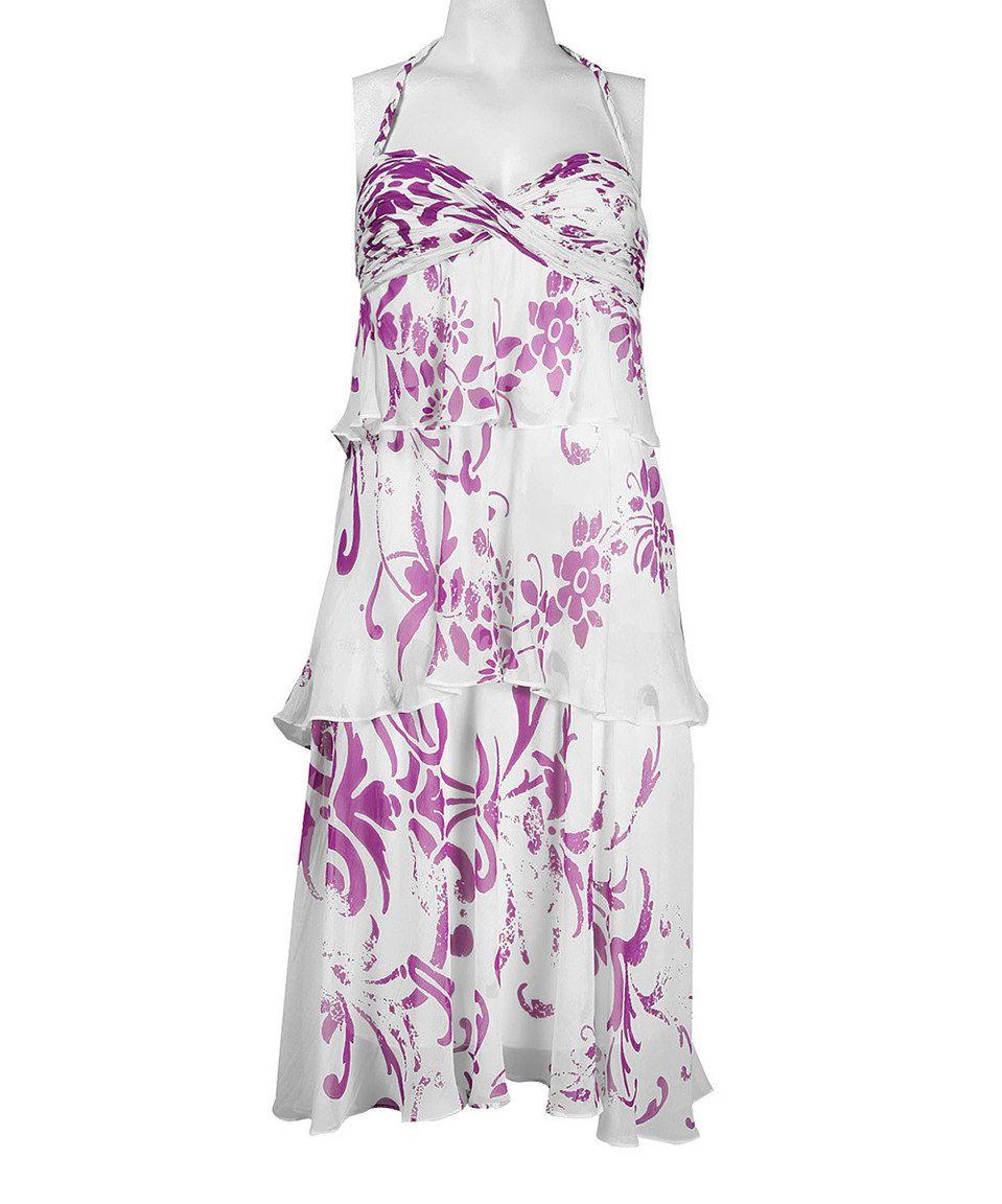 Love this Nina Austin Purple & White Silk-Blend Halter Dress by Nina Austin on #zulily! #zulilyfinds