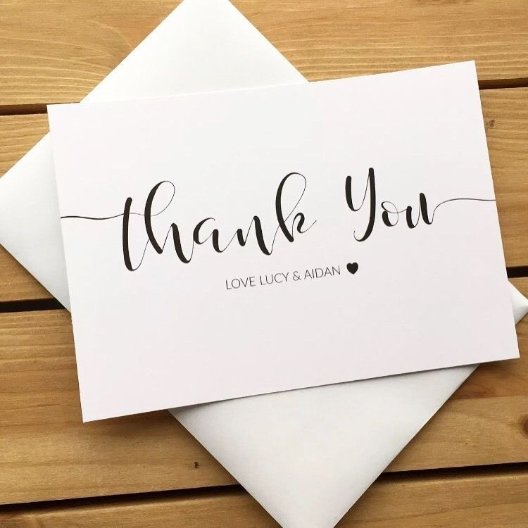 10 personalised wedding thank you note cards with