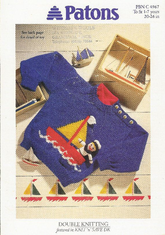 007a4e3910a2 Baby jumper boat motif and sailor toy vintage knitting pattern PDF instant  download