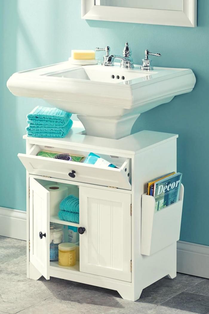Blue Bathroom Storage idea