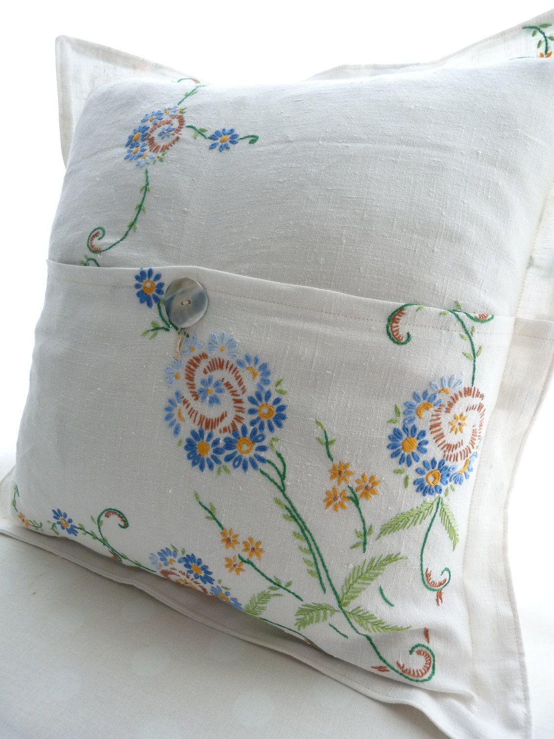 Pillow Cushion Cover Embroidered Vintage Linen Free Shipping Via Etsy Embroidered Pillowcases