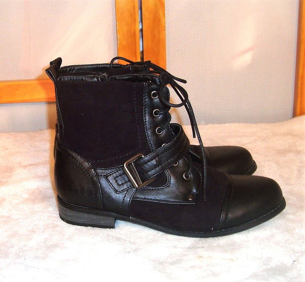 1ee24ace7b5e Black Poppy Sz 7.5M Black Faux Leather   Suede Chelsea Lace Up Boots W   Zippers  BlackPoppy  ChelseaBoots  CasualOutdoorWork