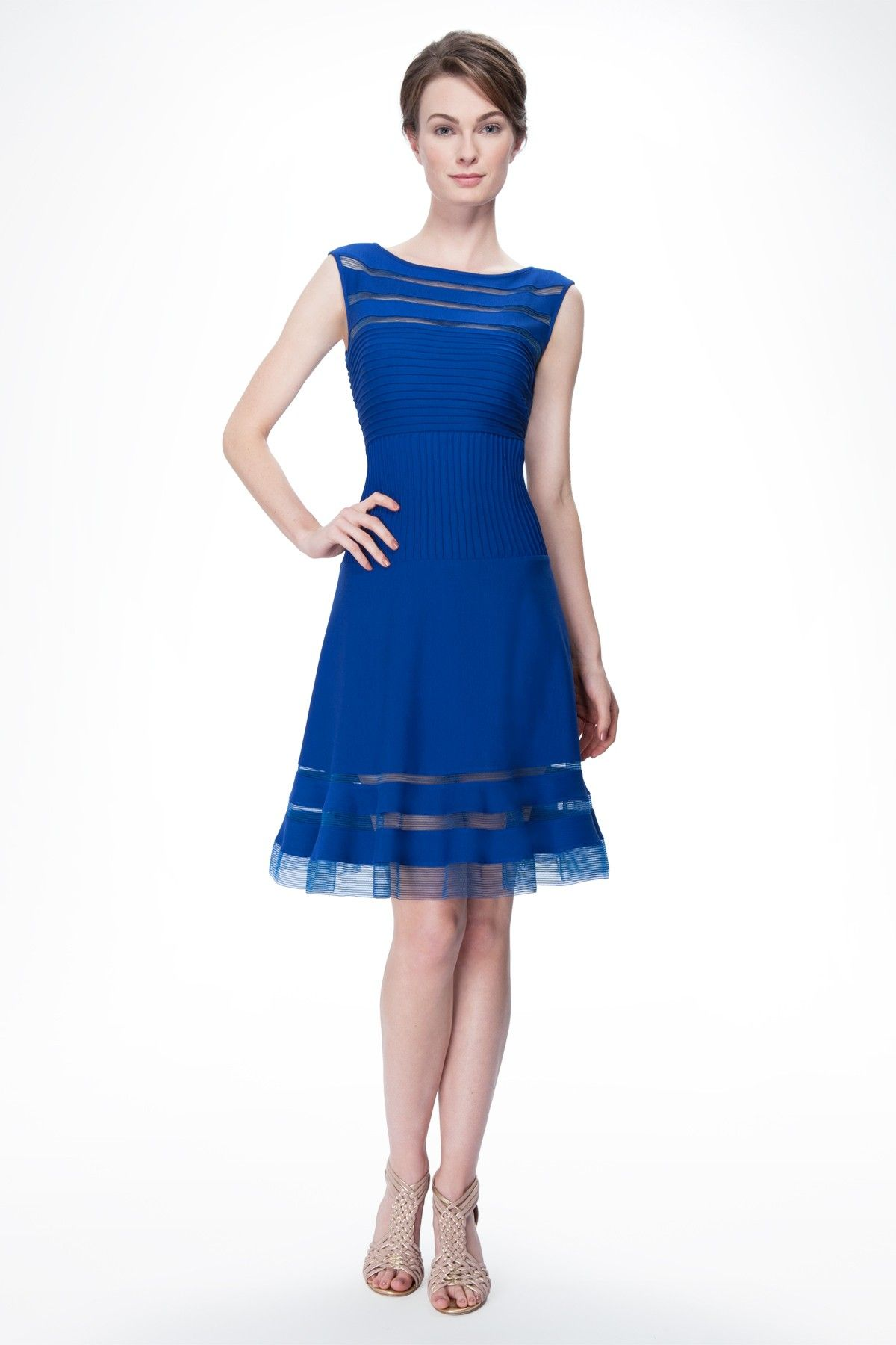 Cutout Jersey Boatneck Cocktail Dress in Blue Lagoon - Cocktail ...