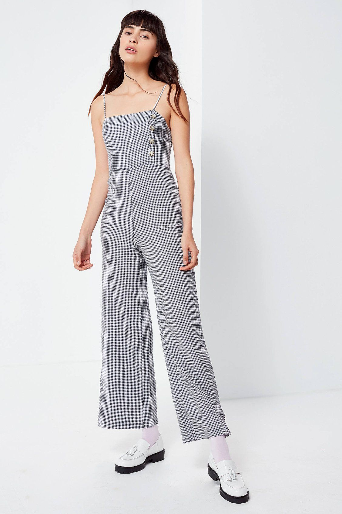 877a04b6491 UO Straight-Neck Linen Button-Down Jumpsuit