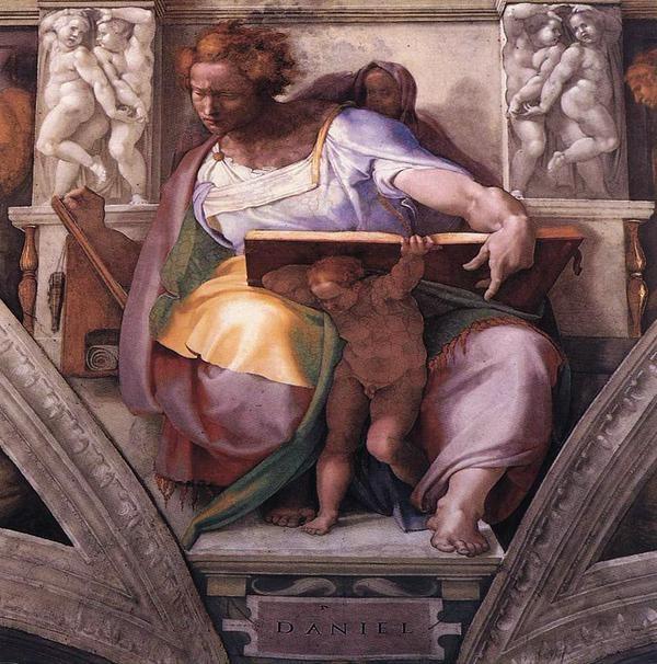 """El genio le sostiene el libro donde """"ha leído"""" el futuro."""