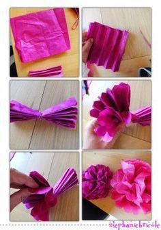 Tuto diy id e d co originale avec des plumes et des grosses fleurs en papier cr pon ou en - Fabriquer des fleurs en papier crepon ...