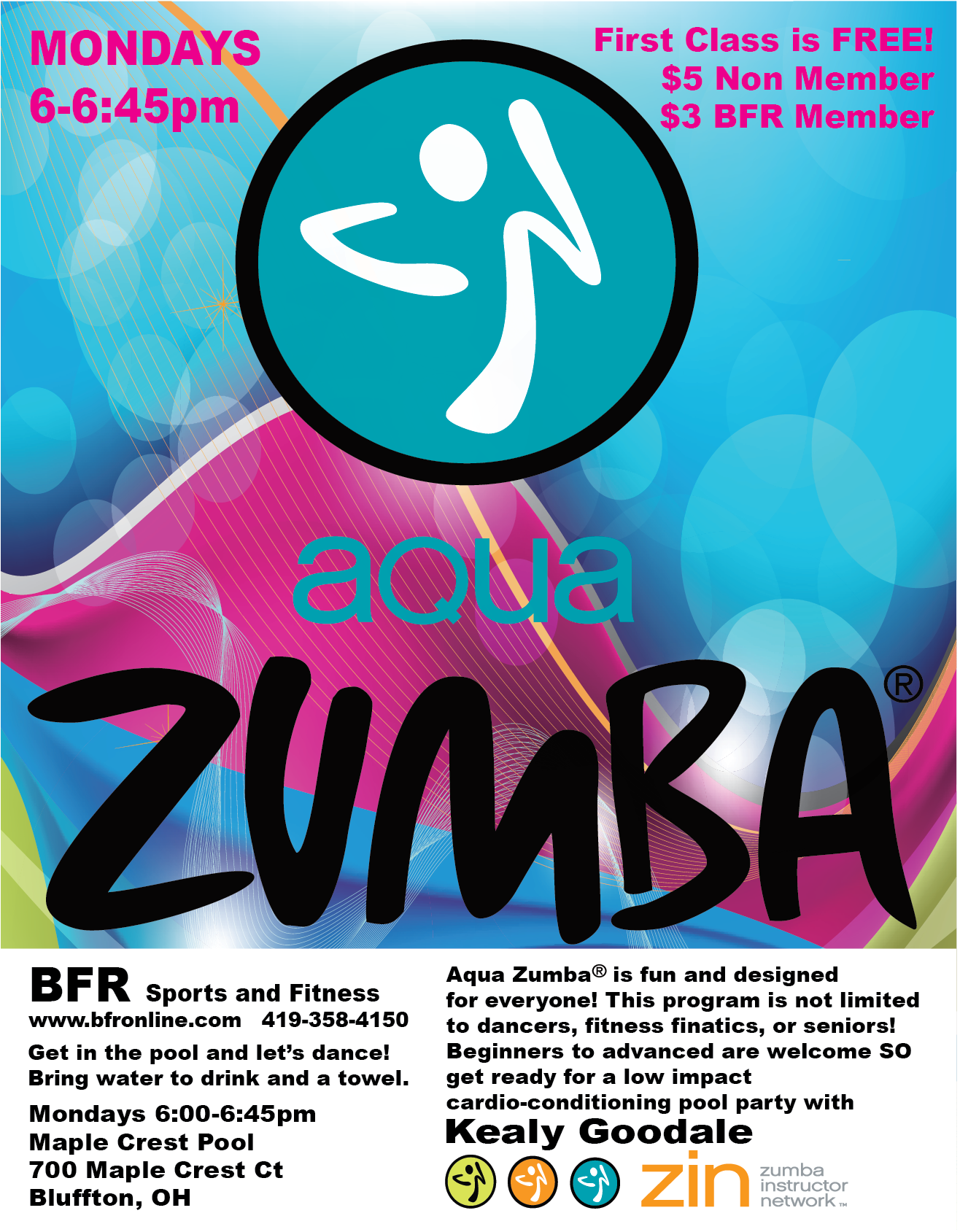 Zumba flyer design zumba flyers - Aqua Zumba Flyer Zumba With Kealy