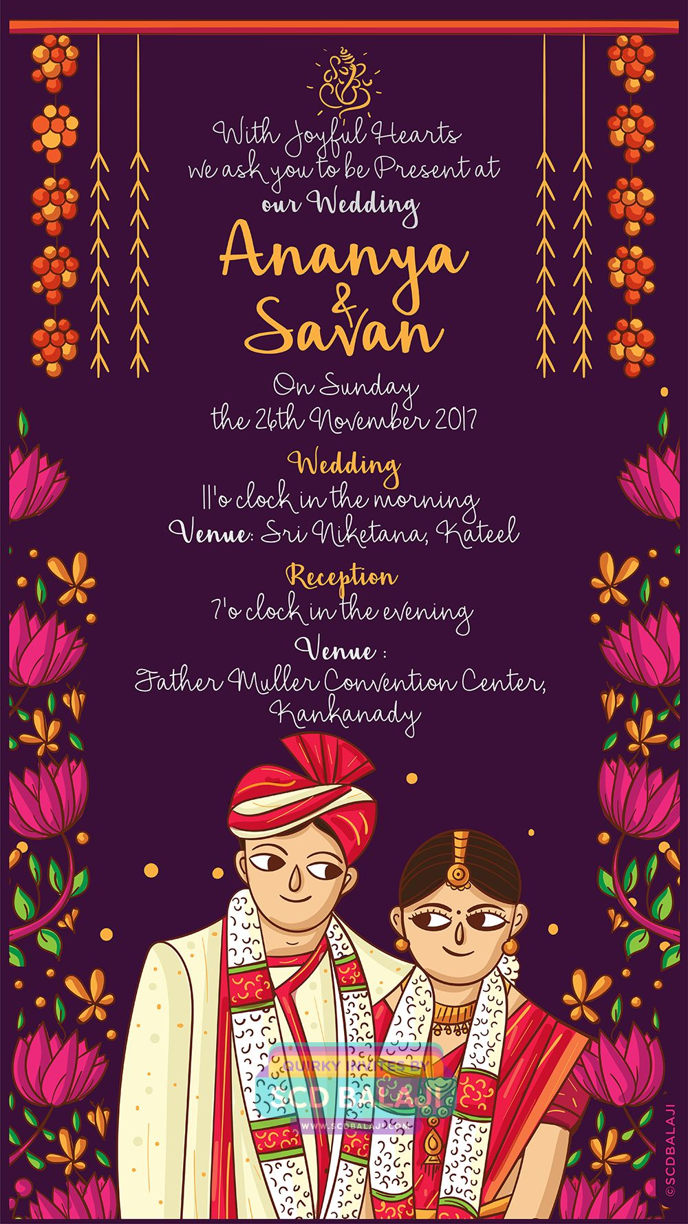 Pin on Kerala Wedding Indian Invite Illustration