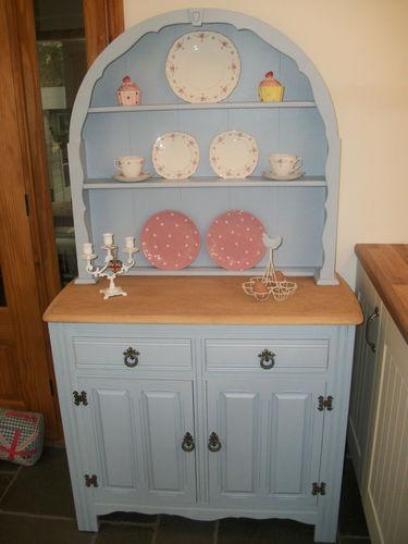 Stunning Shabby Chic Vintage Solid Oak Dutch Dresser Farrow  U0026 Ball Lulworth Blue