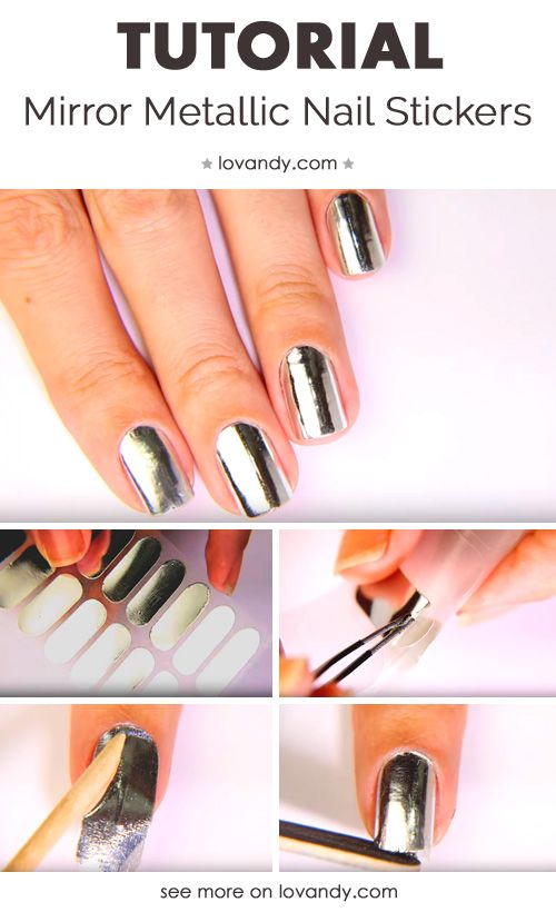 Making Manicure With Mirror Metallic Nail Stickers