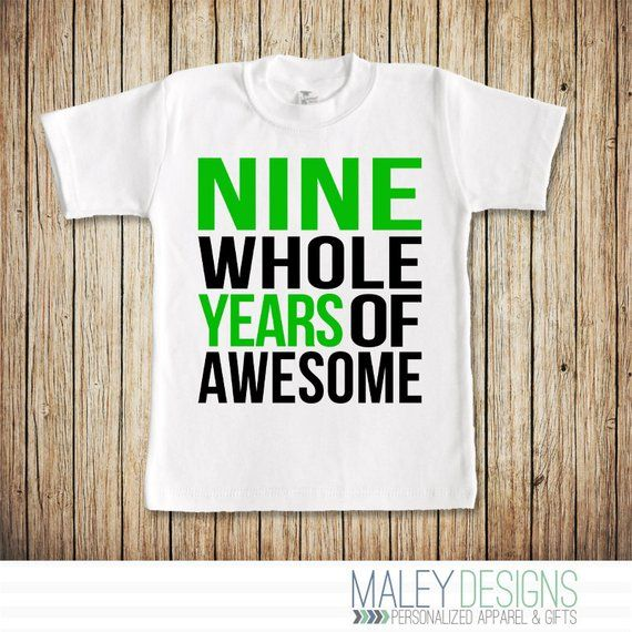 9 Year Old Boy Birthday Shirt Nine Whole Years Of Awesome Ninth Bi