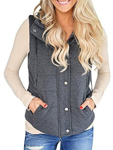 8a19af037c086 Ofenbuy Womens Vest Lightweight Quilted Drawstring Jacket Casual Button  Closure Outerwear   More info could be found at the image url.
