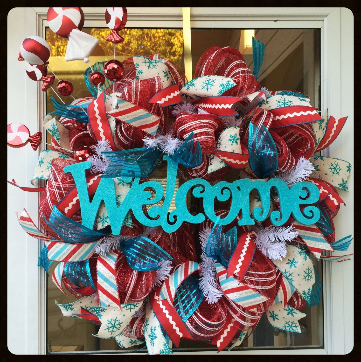 Red Turquoise Not Just For Holiday Decor: Red & Turquoise Candy Christmas Wreath