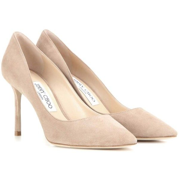 Jimmy Choo Romy 85 Suede Pumps ($505) ❤ liked on Polyvore featuring shoes,