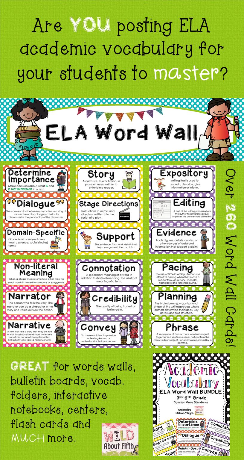 ELA Word Wall 3rd-6th BUNDLE - Polka Dot