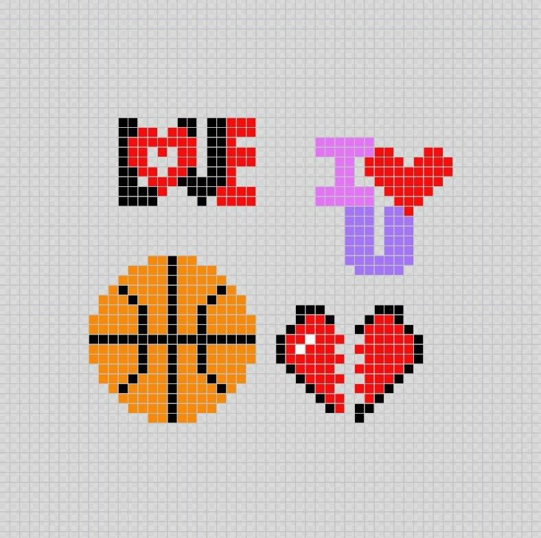 Phrases Pelota De Basketball Corazon Roto A La Mitad Pixel Art Patterns Punto De Cruz Dibujos En Cuadricula Regalos Bonitos Para Mi Novio
