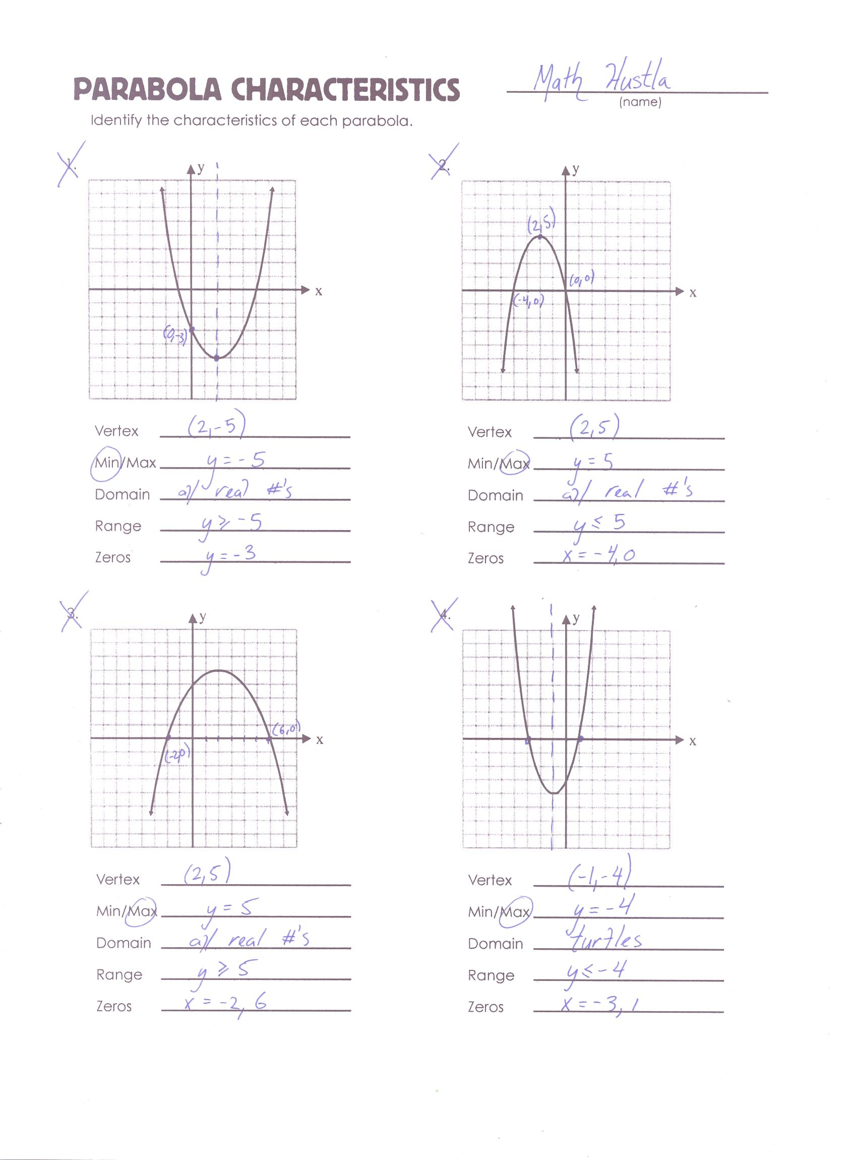 worksheet Parabola Worksheet parabola review worksheet worksheets math and algebra characteristics in addition to the blank there is a completed