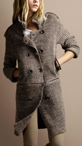f8bf3955ccc4a9 Burberry brit Chunky Knit Zip Detail Cardigan in Gray (pale military khaki)