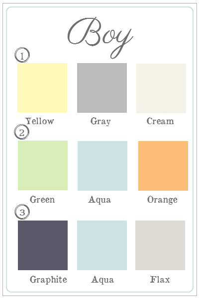 boy nursery color schemes i like 2 and 3 yellow is too intense of - Picture Of A Boy To Color