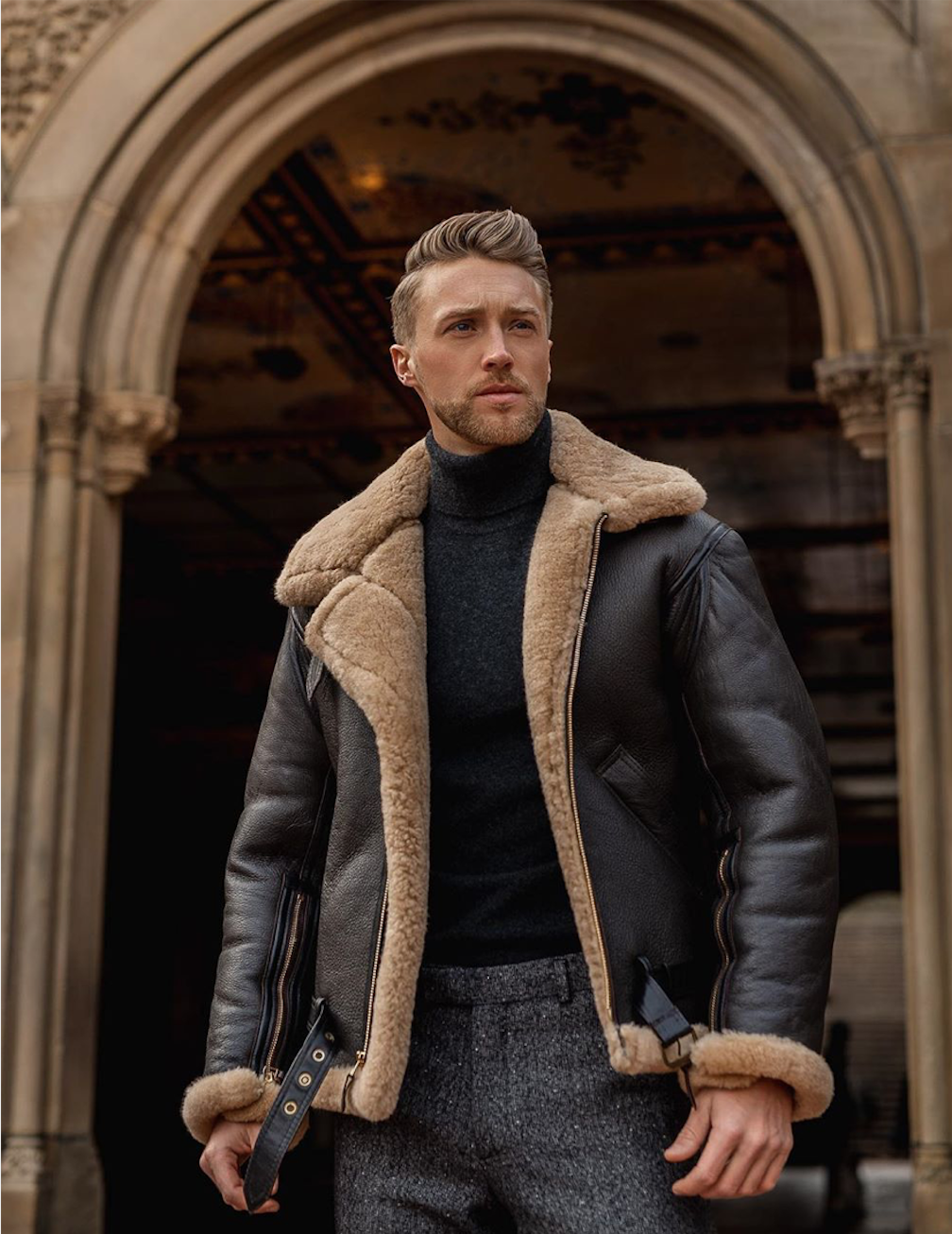 Cockpit Brand Irvin Mens Shearling Jacket Stylish Mens Outfits Mens Winter Fashion [ 1306 x 1008 Pixel ]