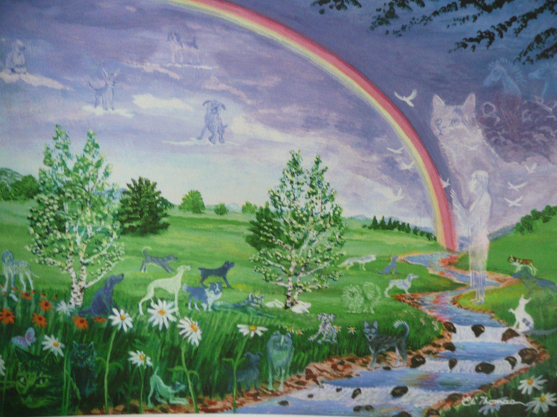 Pet dog cat animal rainbow bridge Native american art