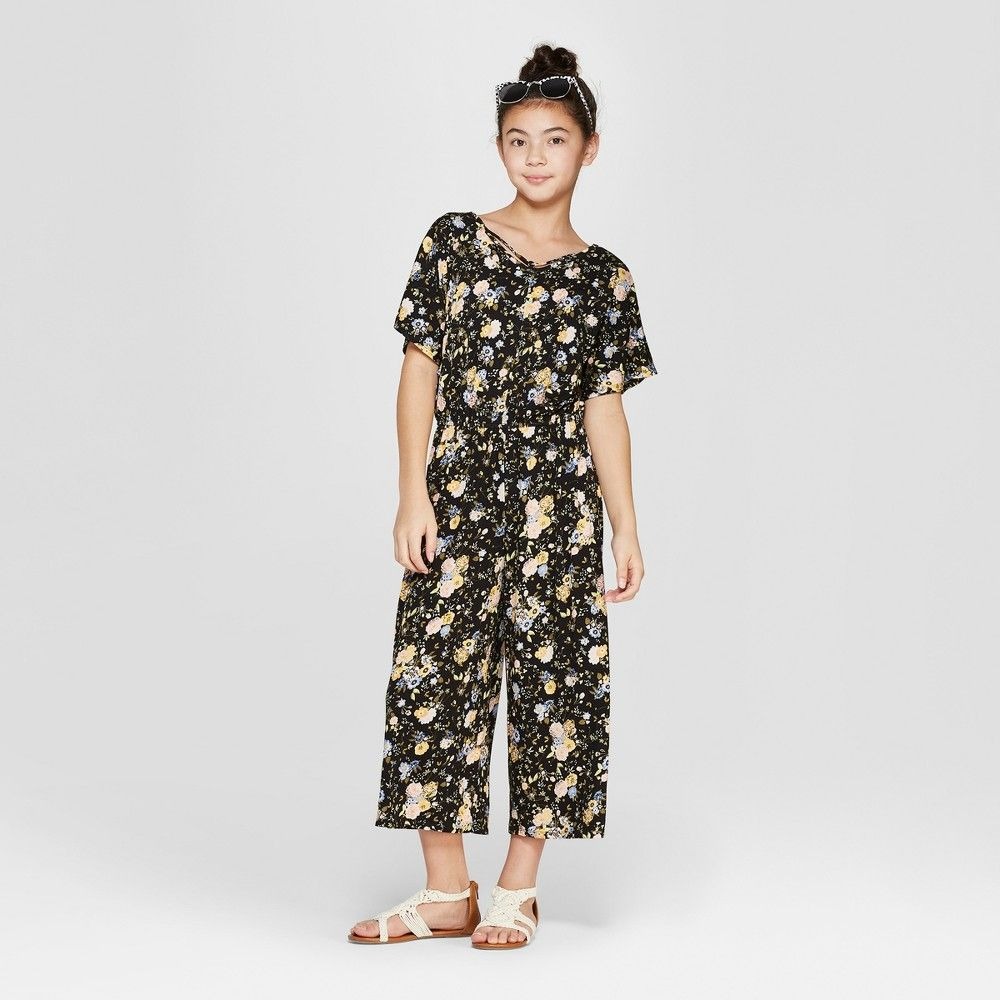 Girls floral short sleeve jumpsuit with criss cross back
