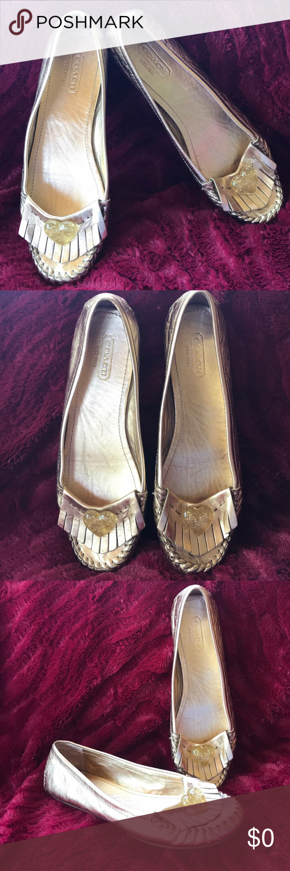 2ead3a8a836c COACH PENNEY LOAFER 6 GOLD sig c LOGO HEART CHARM COACH PENNEY GOLD METALLIC  LEATHER MOCCASIN