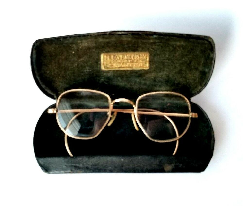 1bfdf820e4 Vtg Antique 40s Eye Glasses Shuron C.O.C 12K Gold Filled Wire Frame W Case   Shuron  Hexagon  Everyday