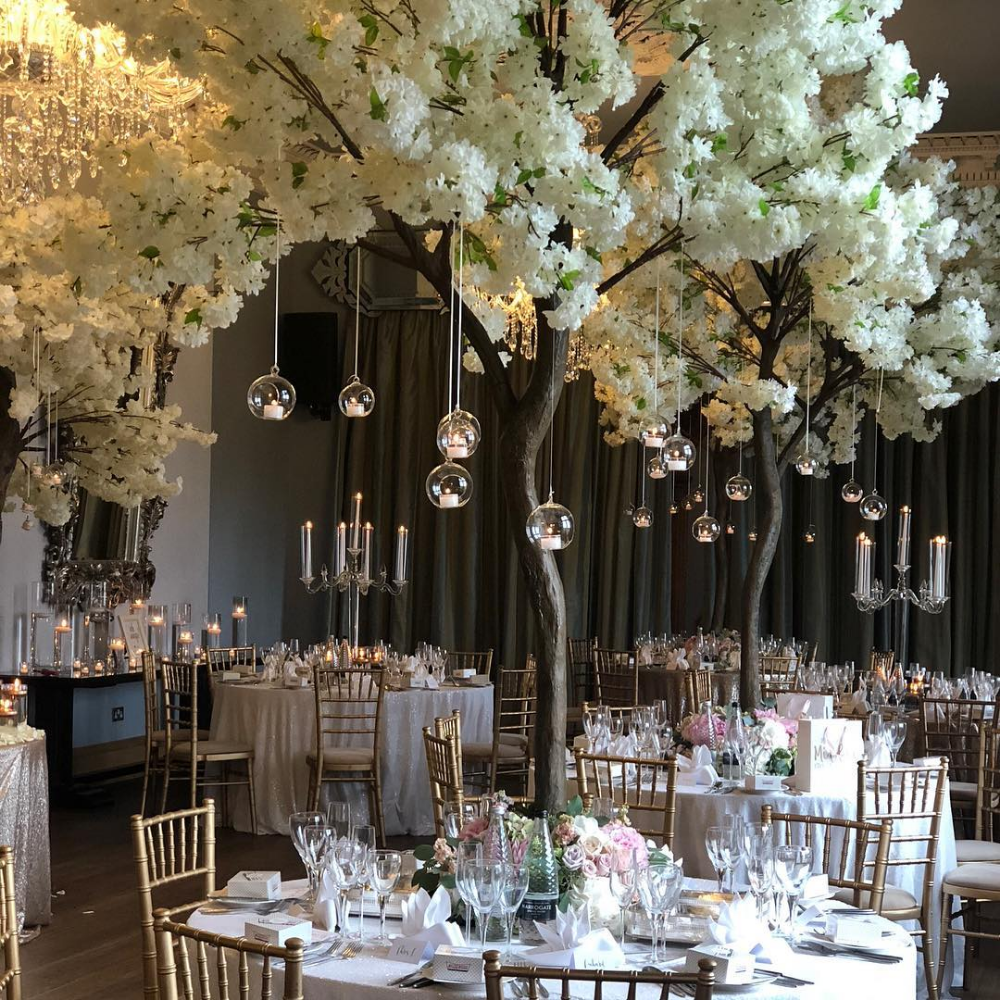Artifical Cherry Blossom Tree With Green Leaves Tree Centerpieces Wedding Tree View Tree Centrepiece Wedding Blossom Tree Wedding Cherry Blossom Centerpiece