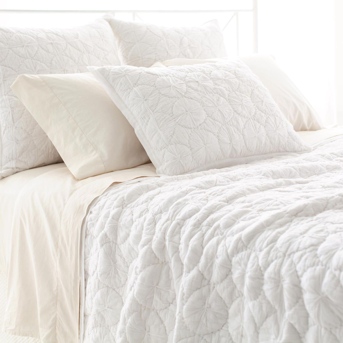 Marina White Quilt Pine Cone Hill Bedding Sets White Pillows