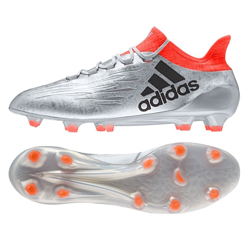 new style ae8c1 c9e13 Introducing the new Adidas  X16.1 cleats released with the  MercuryPack. These  boots stand out in a bright silver colorway accented by the orange sock.