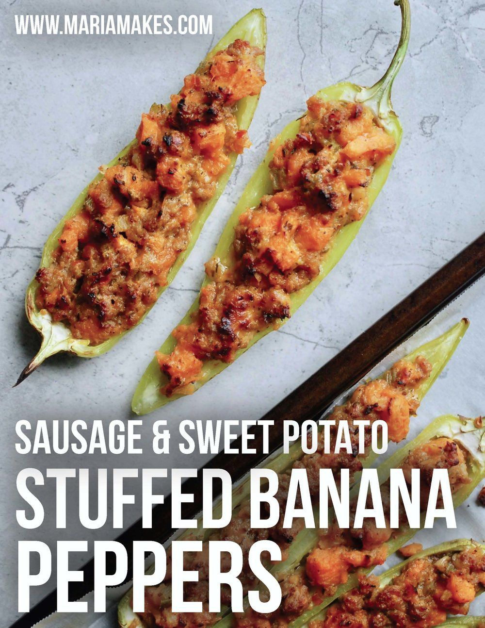 Sausage Sweet Potato Stuffed Banana Peppers Maria Makes Wholesome Simple Recipes For Every Day In 2020 Recipes With Banana Peppers Stuffed Banana Peppers Stuffed Peppers