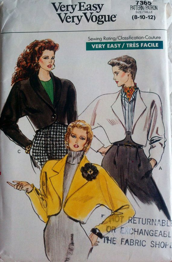 Vogue 7365 Vintage 80 S Sewing Pattern Women S By Sutlerssundries
