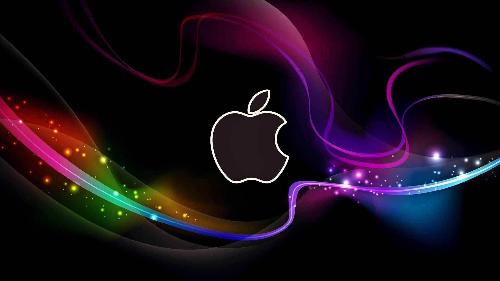 hd cool apple logo with abstract background wallpapers