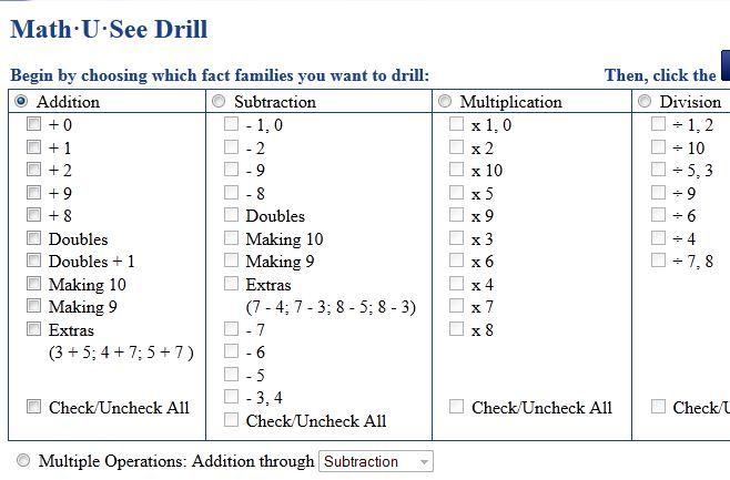 Drills Math U See Math U See Math Methods Math